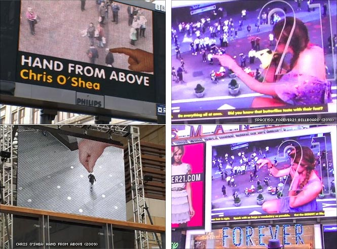 Hand from Above by Chris O'Shea, and Forever21 Billboard by Space150